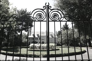 Estate behind rod iron gate