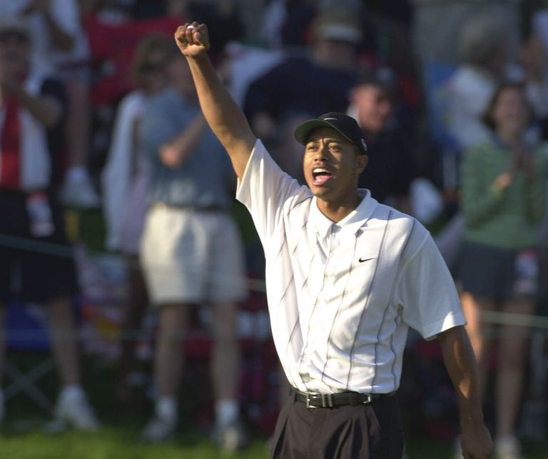 Tiger Woods celebrates after making a 60-foot birdie from the 17th hole fringe in the 2001 Players Championship