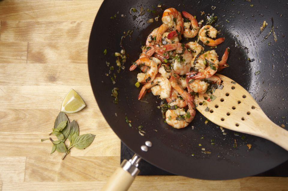 wok, shrimps, thai basil, chili