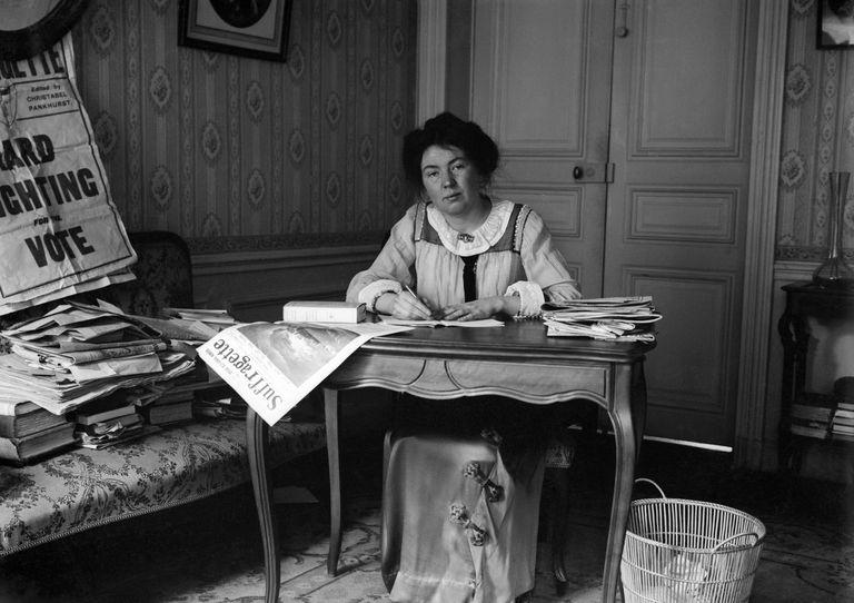 Christabel Pankhurst Sitting at Her Desk
