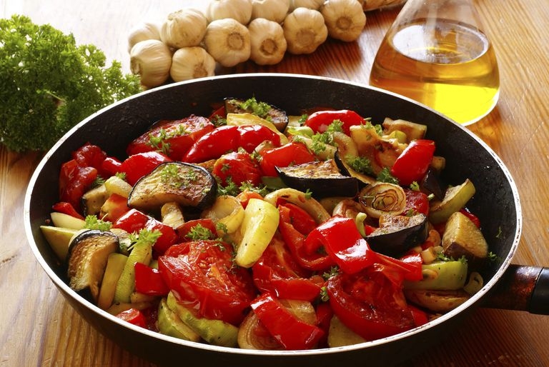 summer vegetables in saute pan