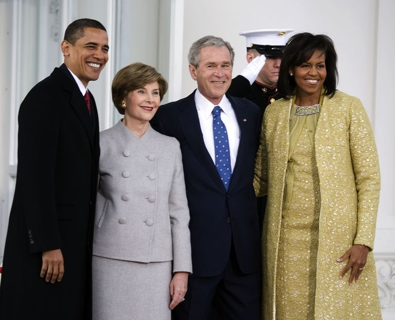 President-elect Barack Obama, his wife Michelle Obama, President George W. Bush and First Lady Laura Bush pose for a photo