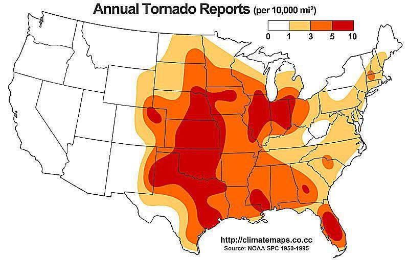 Average annual tornado reports