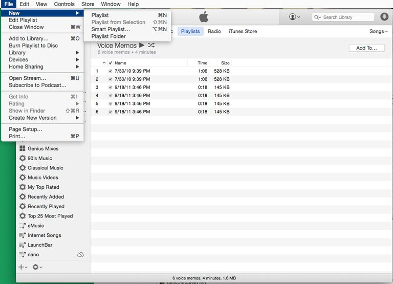 create playlist in iTunes, step 1