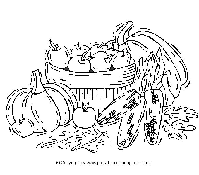 Preschool Coloring Book Fall Pages