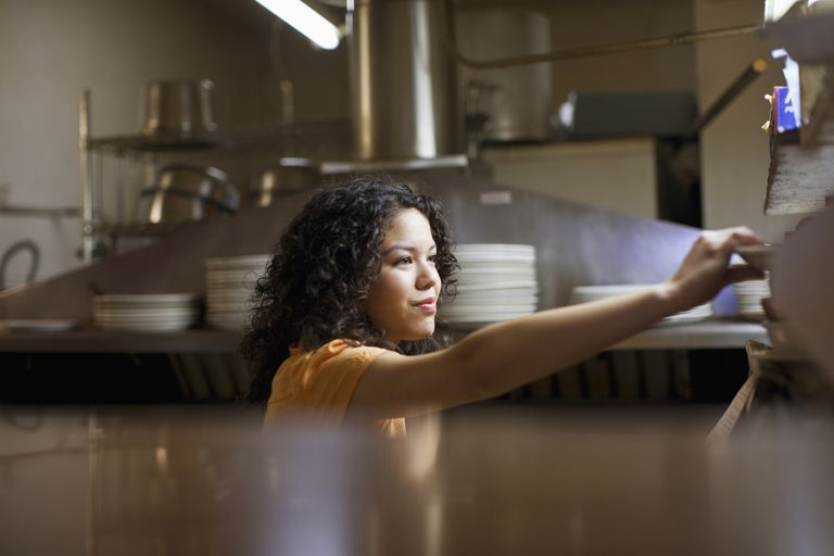 Teen working in a restaurant