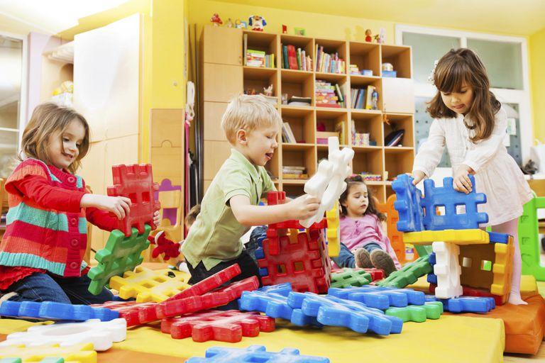 Children stacking blocks.