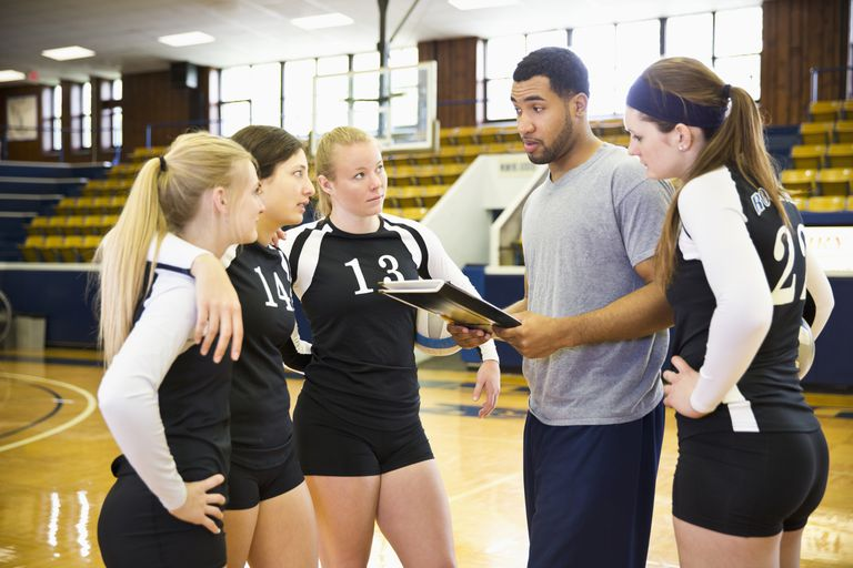 Coach talking to volleyball team