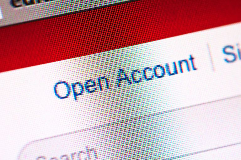 'Open Account' field on computer screen