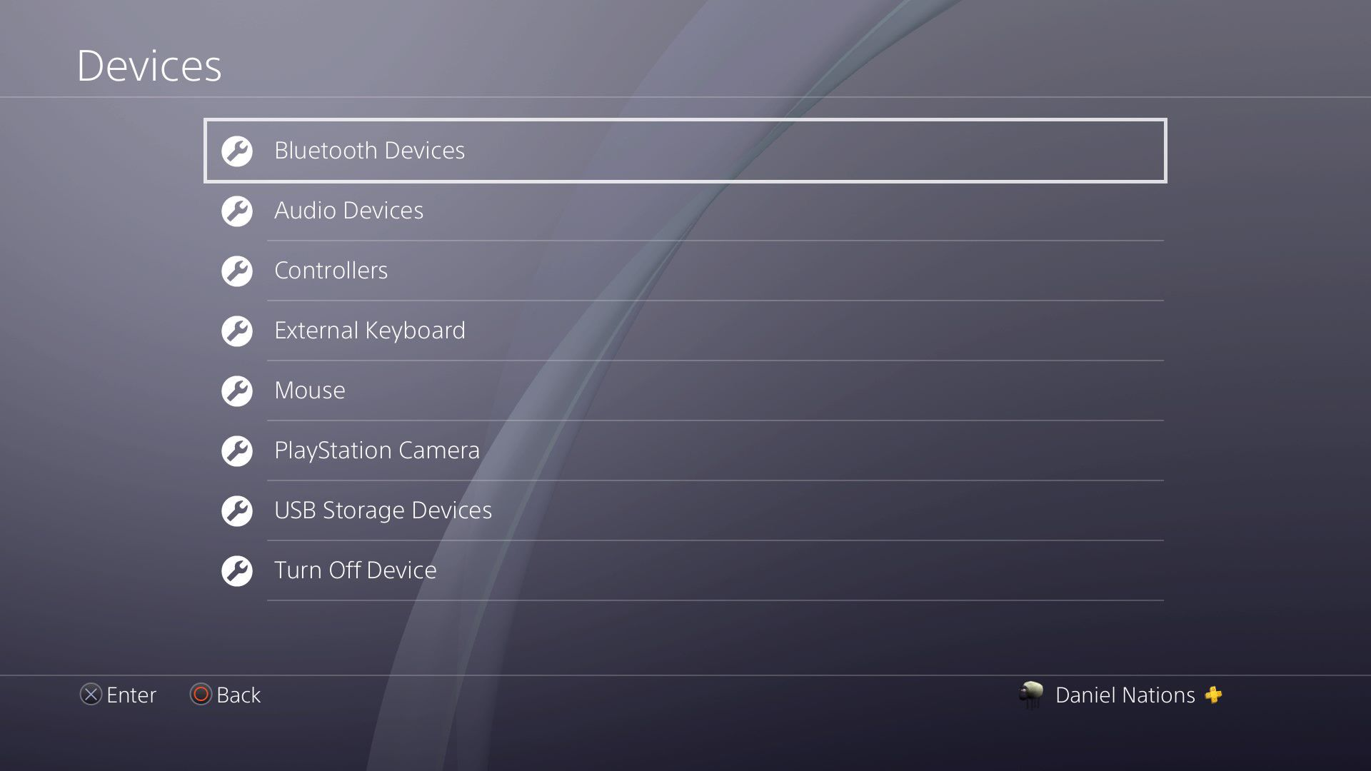 A screenshot of the device settings on the PS4.