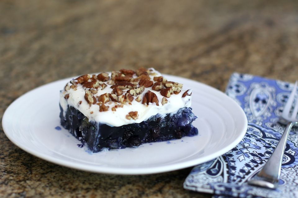 Blueberry Gelatin Salad With Cream Cheese Topping