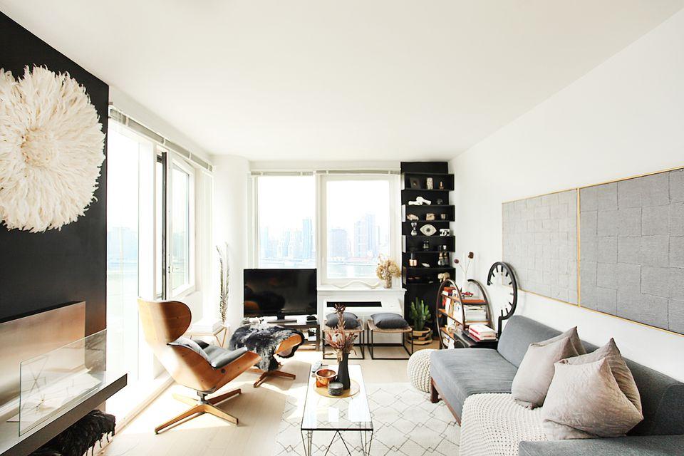 modern gray and white living room