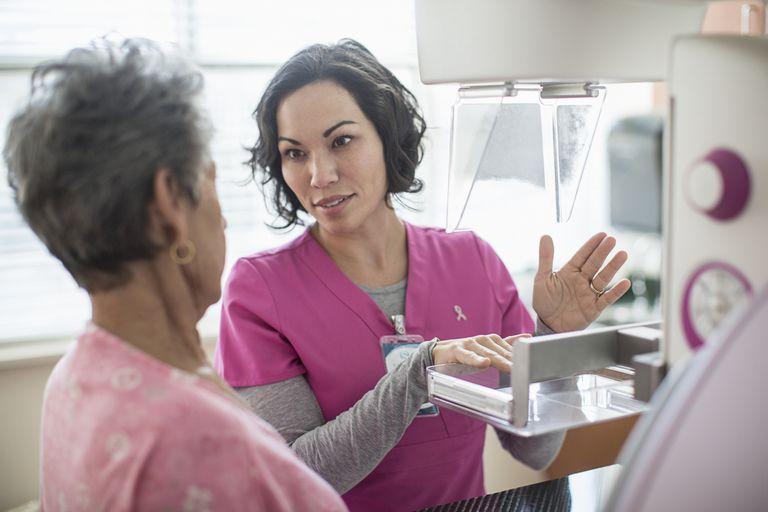 Nurse explaining mammogram
