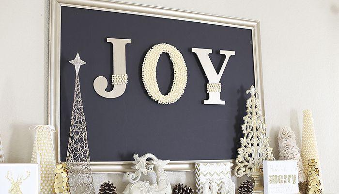DIY Pearl Embellished Joy Sign
