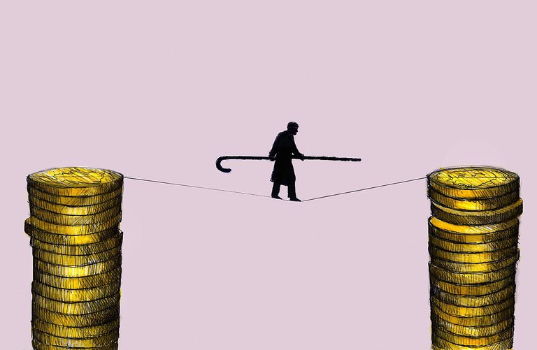 tightrope and money