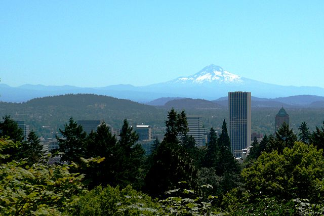 Mt Hood and Portland View from International Rose Test Garden