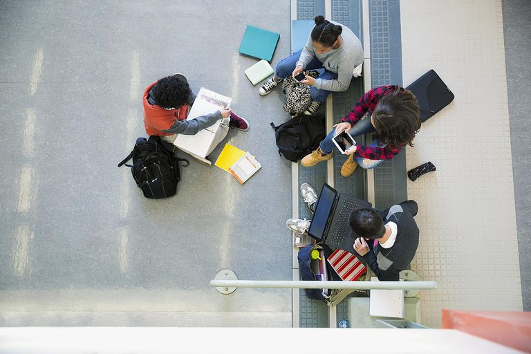 Overhead view high school students studying hanging out