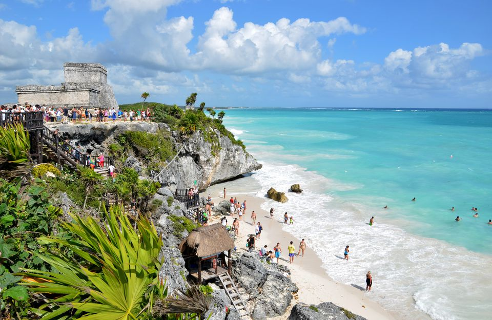 Beach and ruins in Tulum, Mexico