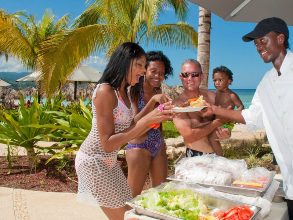 Beach buffet on a cruise