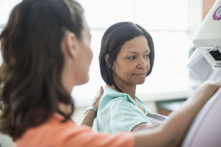 Nurse giving woman mammogram
