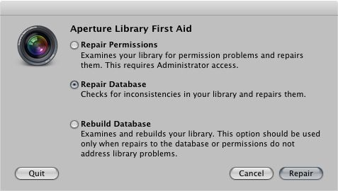 Aperture 3 Troubleshooting - Using Aperture 3 Library First Aid