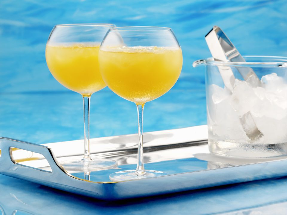 Apricot Cocktails on Serving Tray