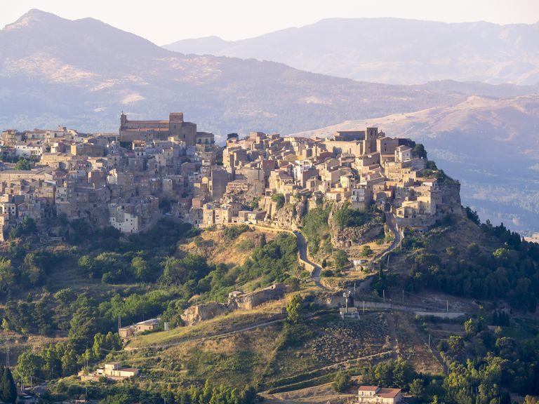 View of the mountain village Calascibetta from Enna