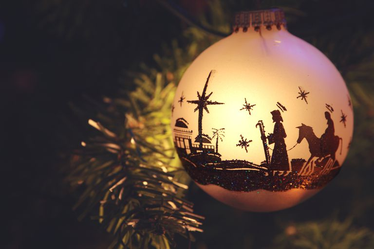 Religious: Nativity Scene silhouette on Christmas Ornament
