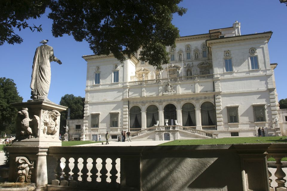 Villa Borghese on a clear day with green grass