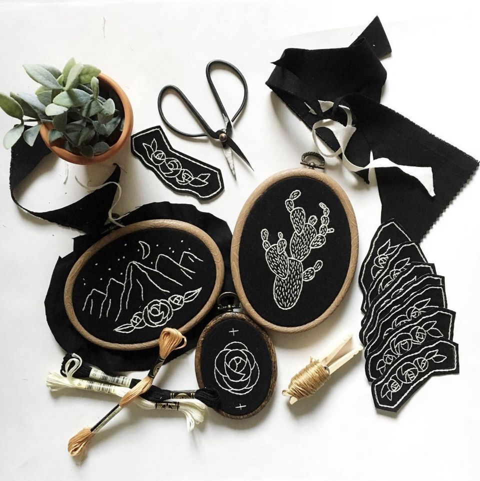 Black and White Embroidery