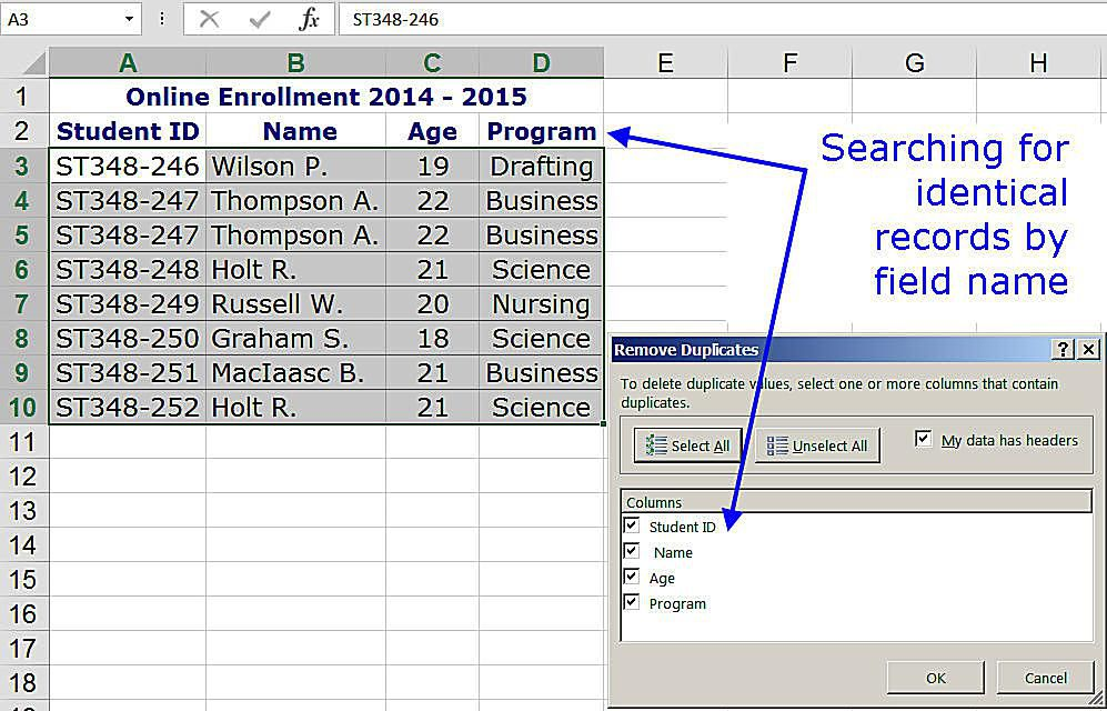 Remove Duplicate Rows Of Data In Excel