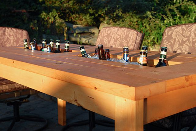 Diy patio table with built in beer or wine cooler diy patio table cooler watchthetrailerfo