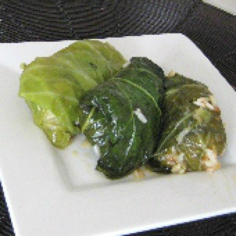 Meatless Stuffed Cabbage, Chard, and Romaine Rolls - Greek Food Photos