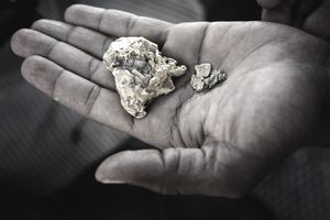 Hand showing gold found in the desert in Sudan, North Africa