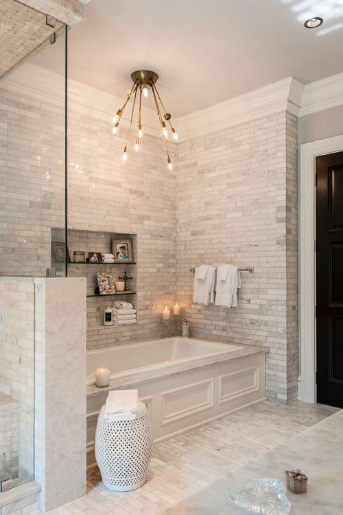 modern subway marble tile bathroom - Bathroom Tiles Marble