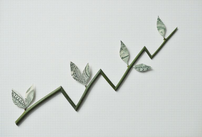 Branch with money leaves resembling a graph