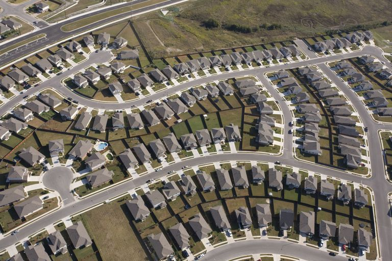 Aerial View of Suburban Homes in Texas