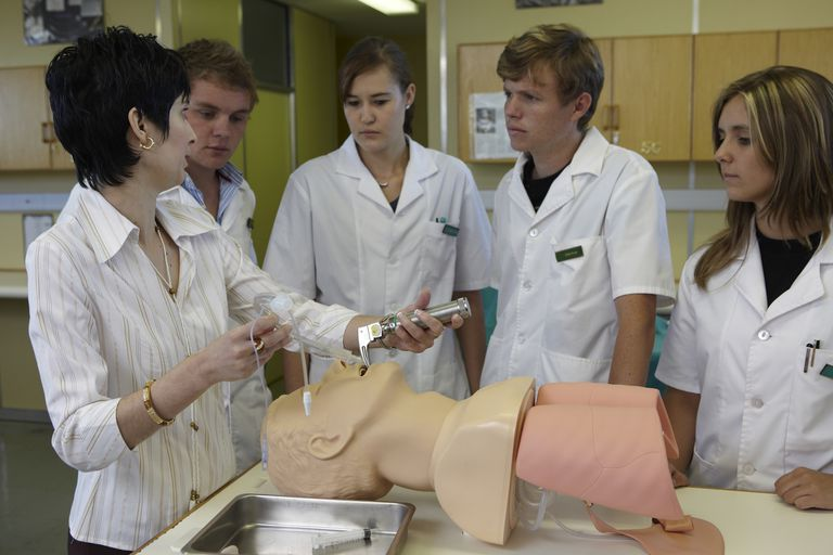 Doctor demonstrating Respiratory care techniques