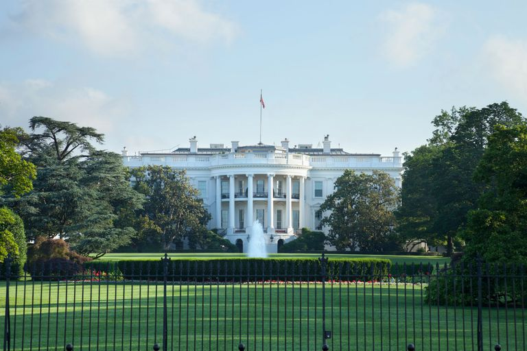 Exterior Of White House Against Sky In City