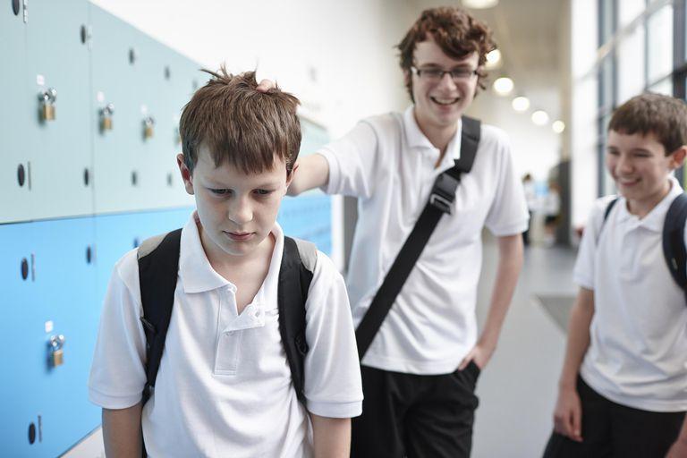 Schoolboy being bullied in school corridor