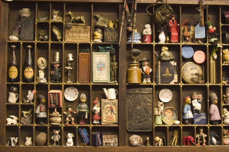 Antiques on display in a shop in Worcester, Worcester, Worcestershire, England.