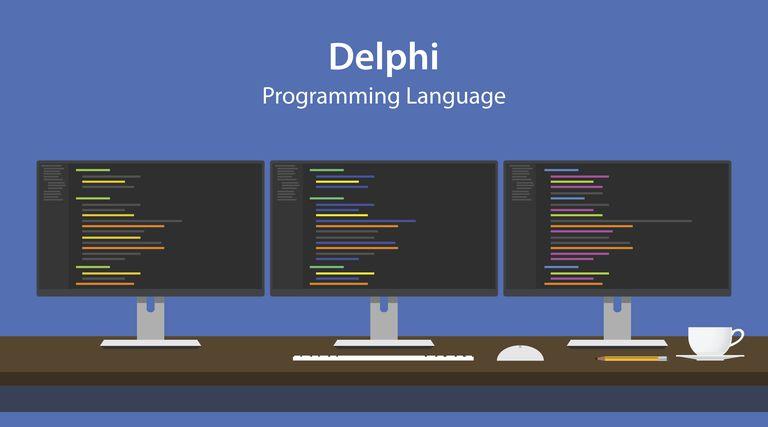 Illustration of Delphi programming language code displayed on three monitor
