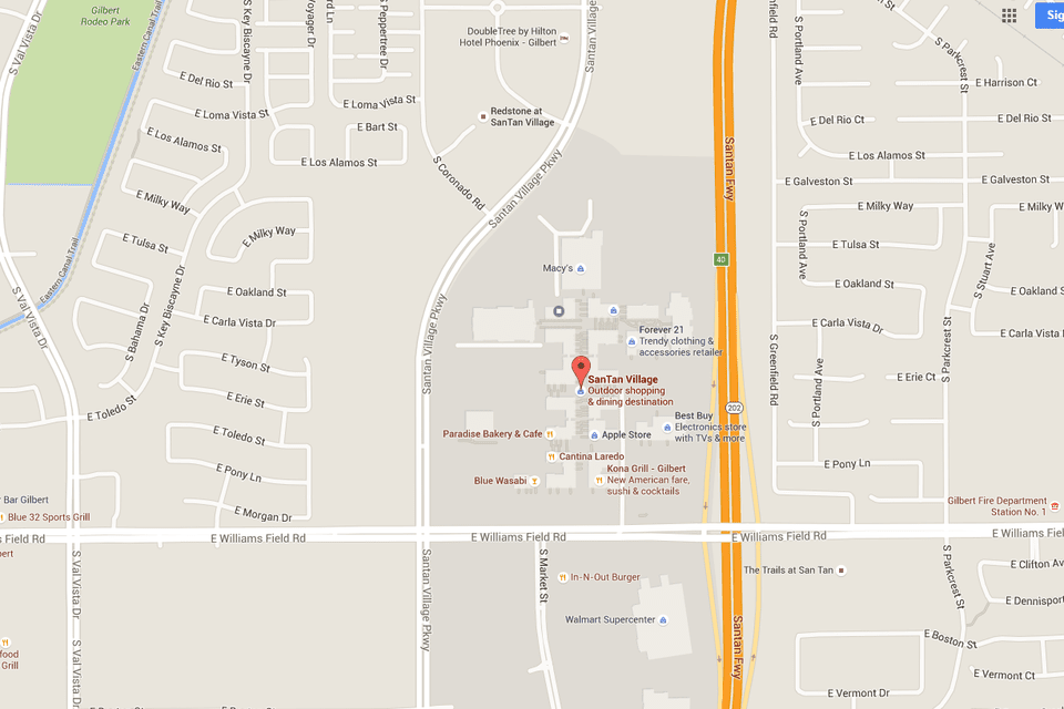 SanTan Village Map with Directions Address