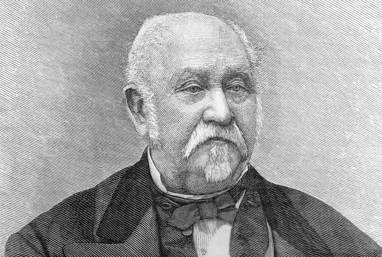 Engraved portrait of elderly John Sutter