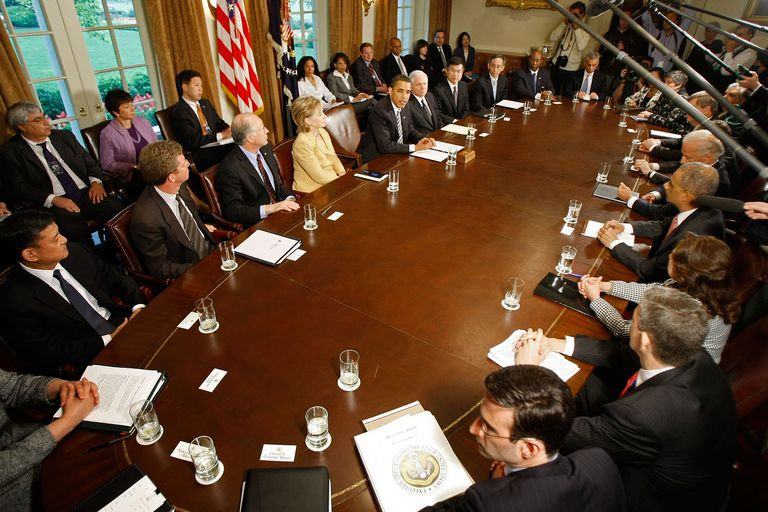 President Obama presides over a meeting of the Cabinet Secretaries.
