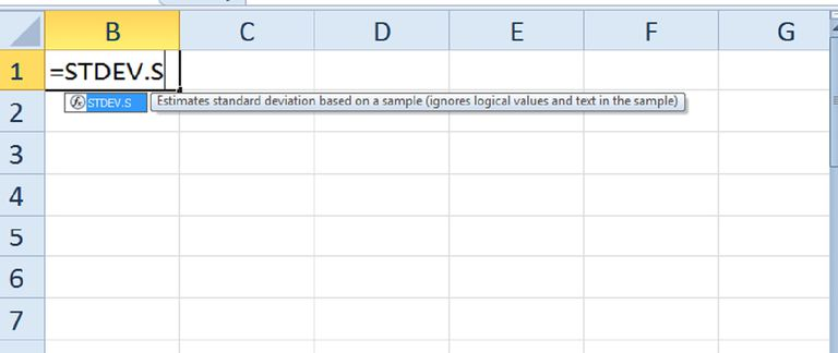 The STDEV.S function in Excel can be used to calculate a sample standard deviation