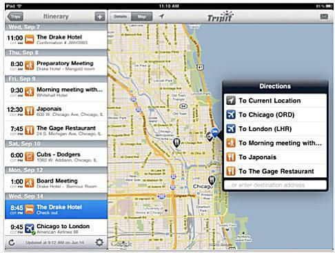 Tripit travel app for iPad