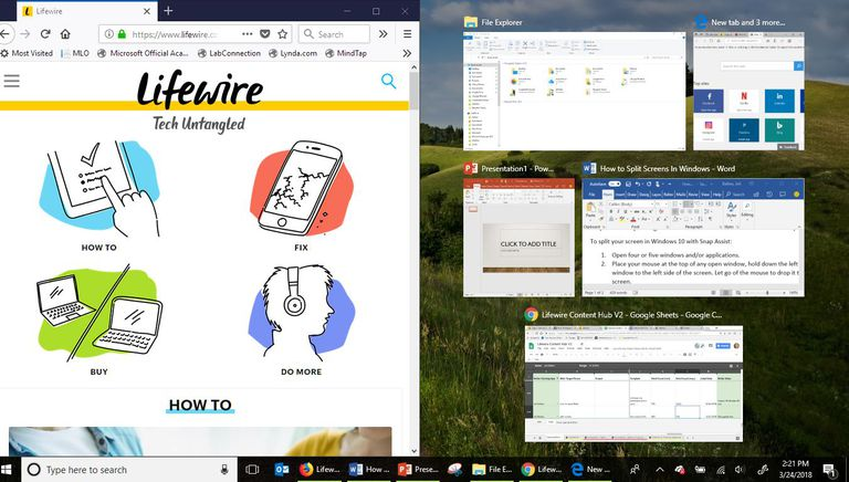 A screen shot of a Windows 10 screen with multiple apps showing using Split Screen.