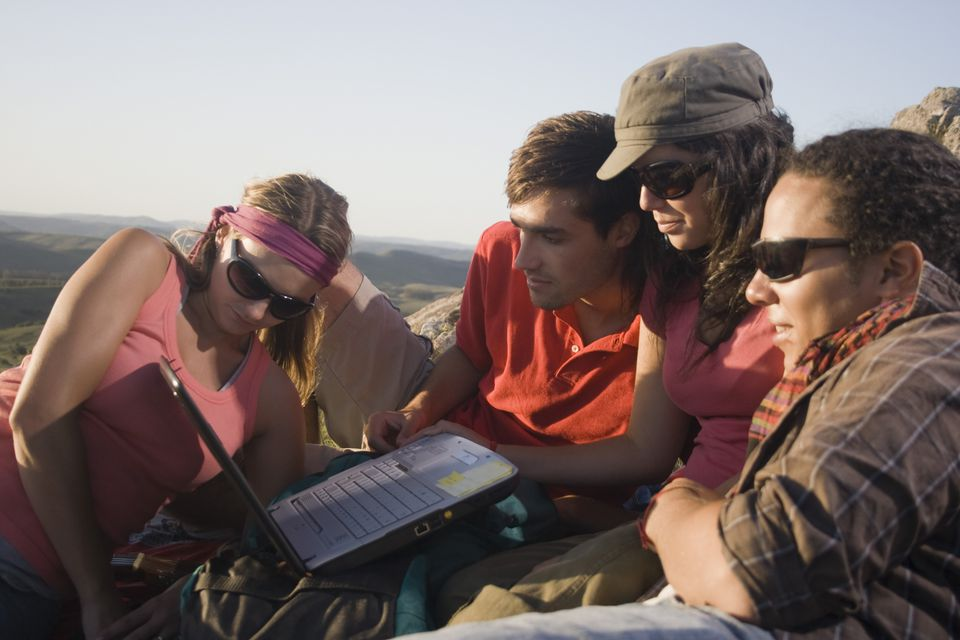 hikers using laptop