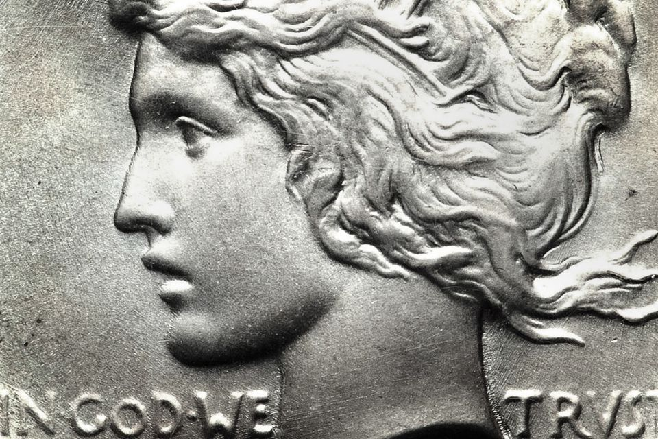 Close up of a United States Peace silver dollar